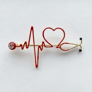 Metal Gold Tone Red Medical Stethoscope Brooch